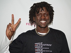 South Sudanese musician Emmanuel Jal uses hip hop to heal war-torn African youth. Jal pictured at the Tribeca Film Festival in New York