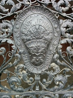 Detail on Memorial gates at the college