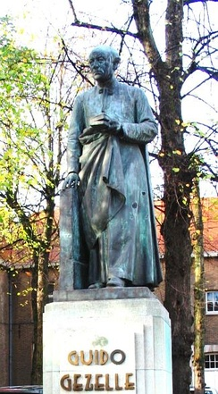Statue of Gezelle in Bruges, by sculptor Jules Lagae