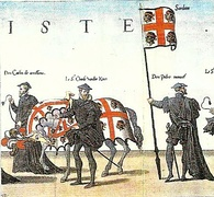 Banners with the arms of Sardinia in the funeral. Hieronymus Cock, Funerals of Charles V, Antwerp, Cristóbal Plantino, 1559.