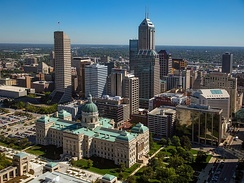 Downtown Indianapolis is the largest employment cluster in Indiana, with nearly 43,000 jobs per square mile (17,000/km2).[132]
