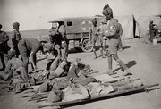Indian medical orderlies attending to wounded soldiers with the Mesopotamian Expeditionary Force in Mesopotamia during World War I
