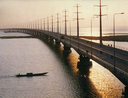 The Jamuna Bridge is the longest bridge in Bangladesh. Bridges are critical arteries over the country's 700 rivers