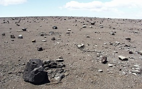 Photograph by S.R. Brantley of USGS showing rocks from 1924 eruption on 1790 ash layer