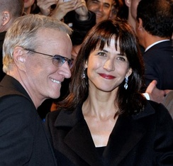 Christophe Lambert with  Sophie Marceau in october 2012.