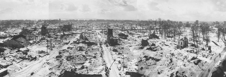 The center of Le Havre destroyed by bombing in 1944