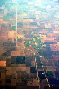 Aerial view of Interstate 39 as it passes Minonk, Illinois. April 2012.