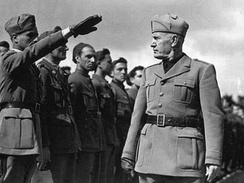 Benito Mussolini inspecting troops during the Italo-Ethiopian War, 1935