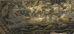 Depiction of wild boars at Lake Balaton on silver dish (part of the 4th century Sevso Treasure)