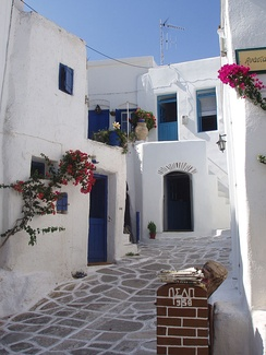 A traditional street in Lefkes, Paros-Greece.