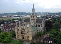 Rochester Cathedral viewed from the top of Rochester Castle