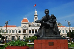 Ho Chi Minh statue outside Ho Chi Minh City People's Committee