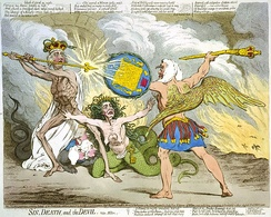 In Sin, Death and the Devil (1792), James Gillray caricatured the political battle between Pitt and Thurlow as a scene from Paradise Lost. Pitt is Death and Thurlow Satan, with Queen Charlotte as Sin in the middle.
