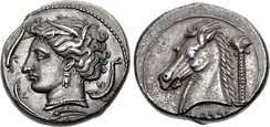 Sicily, Entella. Punic issues. Circa 320–300 BC. AR Tetradrachm (26 mm, 16.84 g, 7h). Head of Arethousa left, wearing wreath of grain ears, triple-pendant earring, and necklace; three dolphins around / Head of horse left; palm tree to right, Punic 'MMḤNT below.