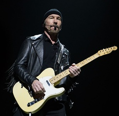 The Edge performing at a U2 concert in Belfast in 2015