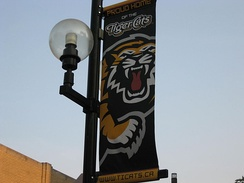 A banner along King William Street in Hamilton supporting the team, partially depicting the team's logo
