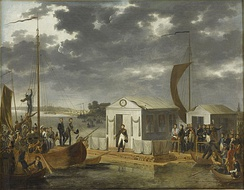 The Treaties of Tilsit: Napoleon meeting with Alexander I of Russia on a raft in the middle of the Neman River