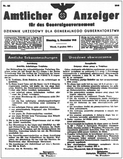 Official announcement of the founding of Treblinka I, the forced-labour camp