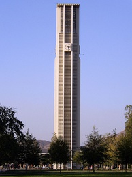 The 161-foot, 48-bell, carillon tower at the University of California, Riverside.