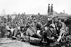 Union soldiers before Marye's Heights, Fredericksburg in May 1863