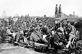 Union soldiers before Marye's Heights, just prior to the Second Battle of Fredericksburg on May 3, 1863