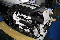 Volkswagen Marine 3.0-litre V6 TDI 265-6 marine engine. This is a marine-modified version of the 3.0 V6 24v TDI CR automobile engine.