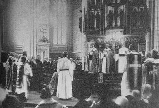 Nathan Söderblom is ordained as archbishop of the Church of Sweden, 1914.