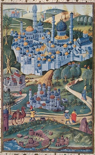 1455 painting of the Holy Land. Jerusalem is viewed from the west; the octagonal Dome of the Rock stands left of Al-Aqsa, shown as a church, and the Church of the Holy Sepulchre stands on the left side of the picture.