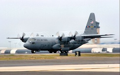 A Lockheed C-130H Hercules of the 156th Airlift Squadron. The 156th is the oldest unit in the North Carolina Air National Guard, with over 60 years of service.