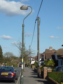 Aerial bundled cable in Old Coulsdon, Surrey