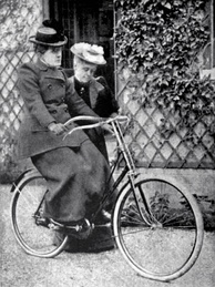 """Let go — but stand by""; Frances Willard learning to ride a bicycle.[7]"