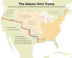 Map showing the results of the Adams-Onís Treaty of 1819