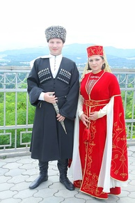 Traditional Adyghe male and female clothing