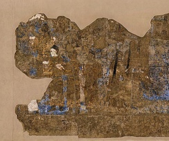 Chinese Embassy, carrying silk and a string of silkworm cocoons, 7th century CE, Afrasiyab, Sogdia.[31]