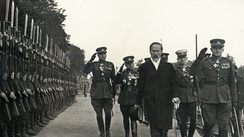 President Antanas Smetona inspects the Lithuanian Army soldiers
