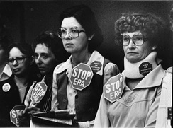 Anti-ERA women watching a committee meeting of the Florida Senate in 1979, where consideration of the ERA was postponed, thus effectively killing the resolution for the 1979 session