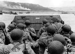 American troops approaching Omaha Beach during the invasion of Normandy on D-Day, 6 June 1944