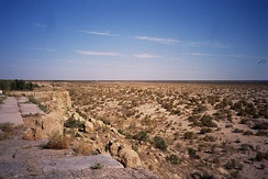 The bed of the former Aral Sea in Uzbekistan in 2004