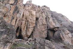 Entrance to the Areni-1 cave in southern Armenia near the town of Areni. The cave is the location of the world's oldest known winery and where the world's oldest known leather shoe has been found.