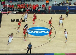 The U.S. playing against Mexico at the 2014 FIBA World Cup