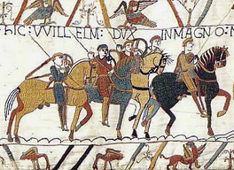 The Bayeux Tapestry depicts the Battle of Hastings, 1066, and the events leading to it