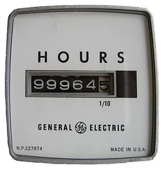 A Hobbs Meter made by General Electric about 1970