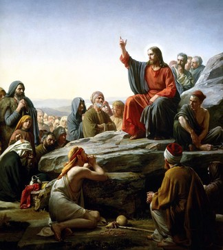 "Depicted is Jesus' famous Sermon on the Mount in which he commented on the Jewish Law. Some scholars consider this event to be a completion or fulfilling (""antitype"") of the proclamation by Moses on Mount Sinai of the Ten Commandments and the promises and law of God (the ""Mosaic Covenant"")."