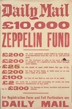 Advertisement by the Daily Mail for insurance against Zeppelin attacks during the First World War