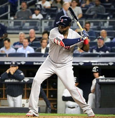 Ortiz batting against the Yankees in September 2016 during the final week of his career