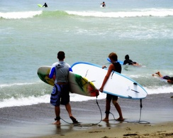 Surfers during the summer at Doheny State Beach