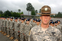 A U.S Army drill sergeant standing before his company
