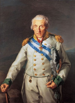 Maximilian of Saxony wearing the blue and white sash and Grand Cross of the Order as well as the Spanish Fleece