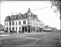 Exterior view of the Bank Building at the corner of Third Street and Broadway, Santa Monica, ca. 1900