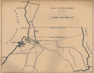 1812 Map of Fall River. The diagonal line represents the border between Massachusetts and Rhode Island